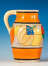 A Clarice Cliff 'Orange Melon' pattern Lotus Jug c.1930, with black printed Fantasque backstamp,