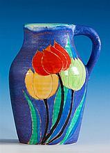 A rare Clarice Cliff 'Clouvre Tulip' pattern Inspiration Lotus jug c.1930,