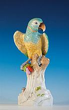 A large Dresden porcelain figure of a parrot blue printed factory mark inside base, the turquoise, dark blue,