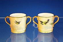 A pair of Royal Worcester miniature loving cups dark green printed factory marks with date code for 1903,