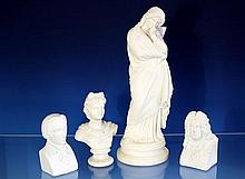 A Parian ware figure late 19th century, of a classical maiden figure in thoughtful pose, in draped robes with a key border,