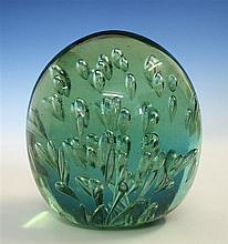 A Victorian glass dump by John Kilner of Wakefield, green glass with finely blown leaping bubbles, 4in. (10.2cm.) high,
