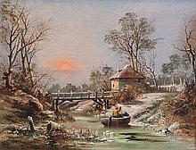Charles Brooke Branwhite (British, 1817-1880) The old Elm Lodge ferry, winter