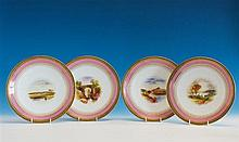 A set of four Royal Worcester plates date code for 1876, gold quatrefoil on black ground to outer edge of a thin pink band,