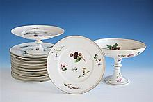 A Continental porcelain part dessert service probably early 20th century, all finely potted, comprising a dished comport,