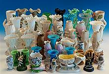 A large and unusual collection of Victorian and Edwardian hand vases English and Continental,