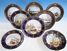 Four Spode Armada Series cabinet plates c.1987,