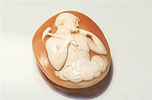 A Victorian carved shell cameo the well carved portrait oval cameo depicting a Greek God in the clouds in pensive pose, unmounted,