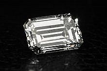 A 1.59 carat unmounted emerald cut diamond a well proportioned stone with very good polish and symmetry, colour I,