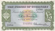 A States of Guernsey five pound note dated 1st July 1966, 3/L 0584, treasurer Guillemette, extremely fine.