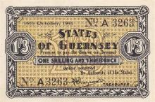 A States of Guernsey one shilling and three pence banknote dated 16th October 1941, A/3263, about uncirculated.