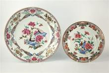 A Chinese famille rose charger late 18th century, flowering peony pendants to border,