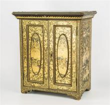 A Chinese export lacquered table cabinet Qing period, (mid 19th century), gilt on black ground,