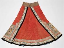 A silk Chinese wedding skirt circa 1870,