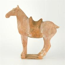 A Chinese terracotta horse in the manner of the Tang dynasty (700 AD),