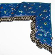 An unusual 19th century Chinese embroidered silk table pelmet with hand embroidered floral,