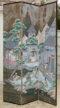 An Oriental painted dressing screen late 19th century,