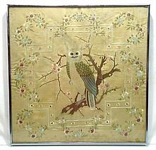 Needlework on Silk of Owl