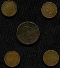 Large Cent & 3 Indian Cents