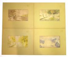 Set of 4 Watercolors Sgnd E. Johnson 1932