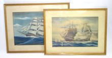 2 Paintings of Ships