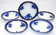 5 Flow Blue Round Berry Bowls