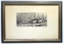 Etching of Logger & Horses