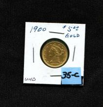1900 $5 Gold