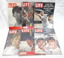 6 Life Magazines w/ Baseball Players