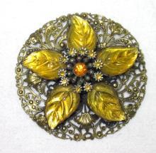 Great Vtg Fred Grey Molded Leaf Brooch