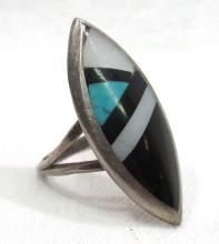 Inlaid Stone & Silver Zuni Ring