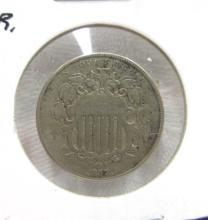 1867 Shield Nickel N.R.