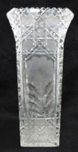 Am. Brilliant Cut Glass Sq. Vase
