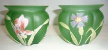 Pr. H.P. Art Glass Vases