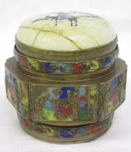 Enameled Oriental Brass Box
