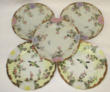 5 Oriental Enameled Plates