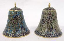 2 Oriental Plique a jour Bells