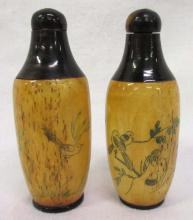 2 Oriental Ox Bone Snuff Bottles