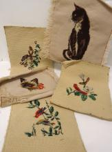 5 Needlepoint Birds & Cats