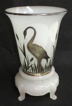 2 Pc. Vase w/Sterling Stork Overlay