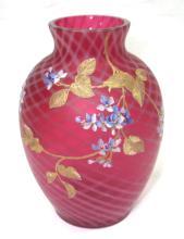 Enameled Cranberry Opal. Vase Sgnd