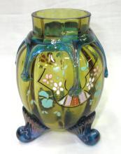 Enameled Harrach Tadpole Vase