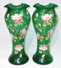 Pr. Blown Glass Enameled Vases