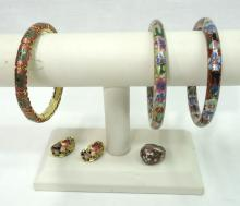 3 Cloisonné Bracelets, Earring & Ring