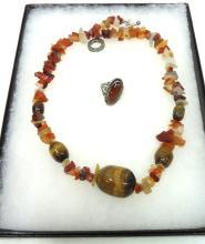 Nice Goldtone Agate/Quartz Necklace & Ring
