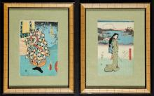 Two Antique Framed Japanese Woodblock Prints