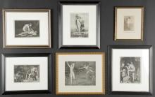 6 Framed Mythological Theme Photogravures