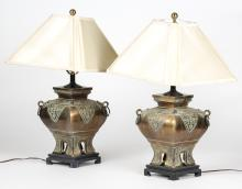 Pair of Vintage Chinese Brass Tabletop Lamps