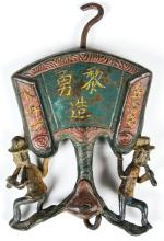 A Chinese Cold Painted Bronze Trade Sign,  Qing D.