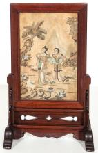 Early 19th C Chinese Painted Stone Tablet